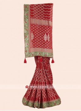 Red Embroidered Bridal Wedding Saree
