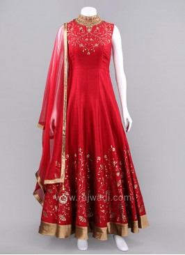 Red Embroidered Flared Anarkali Dress