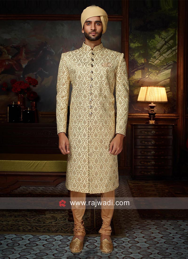 Brocade Silk Fabric Sherwani
