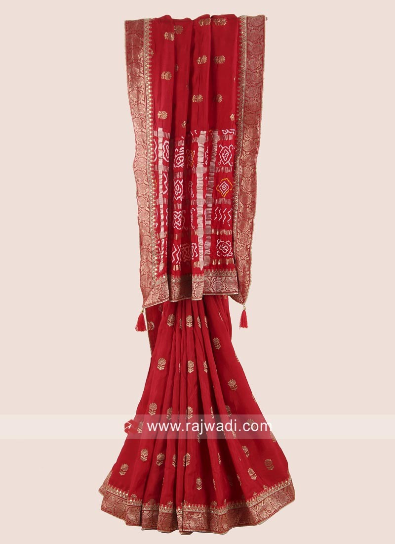 Red Embroidered Saree with Blouse