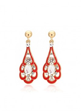 Red Gold Plated Dangler Earrings