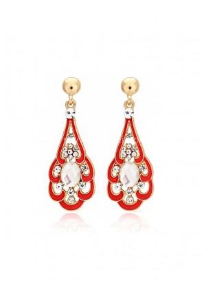 Red Gold Plated Dangler Earrings