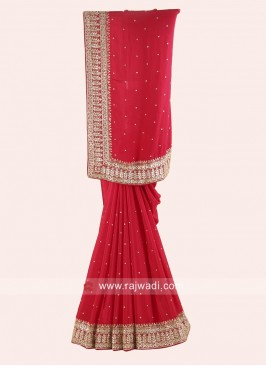 Red Gota Patti Work Saree