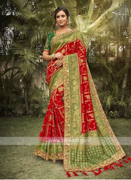 Red & Green Silk Saree