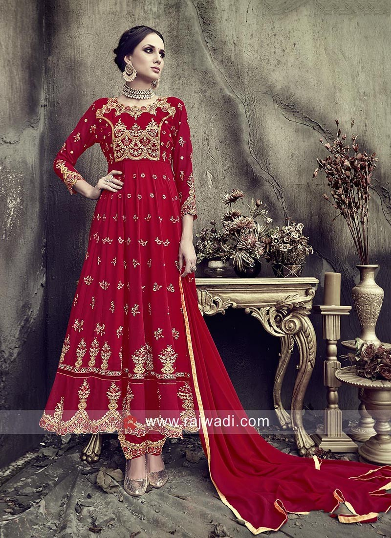 Red Heavy Embroidered Anarkali Dress