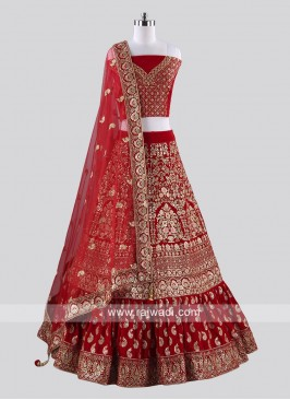 Red Heavy Embroidered Lehenga Choli for Bride