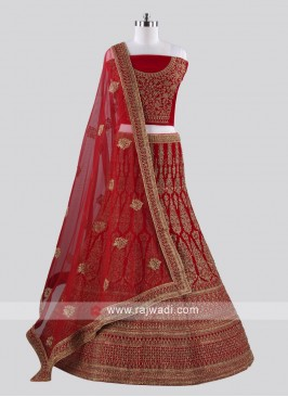 Red Heavy Embroidered Lehenga Set