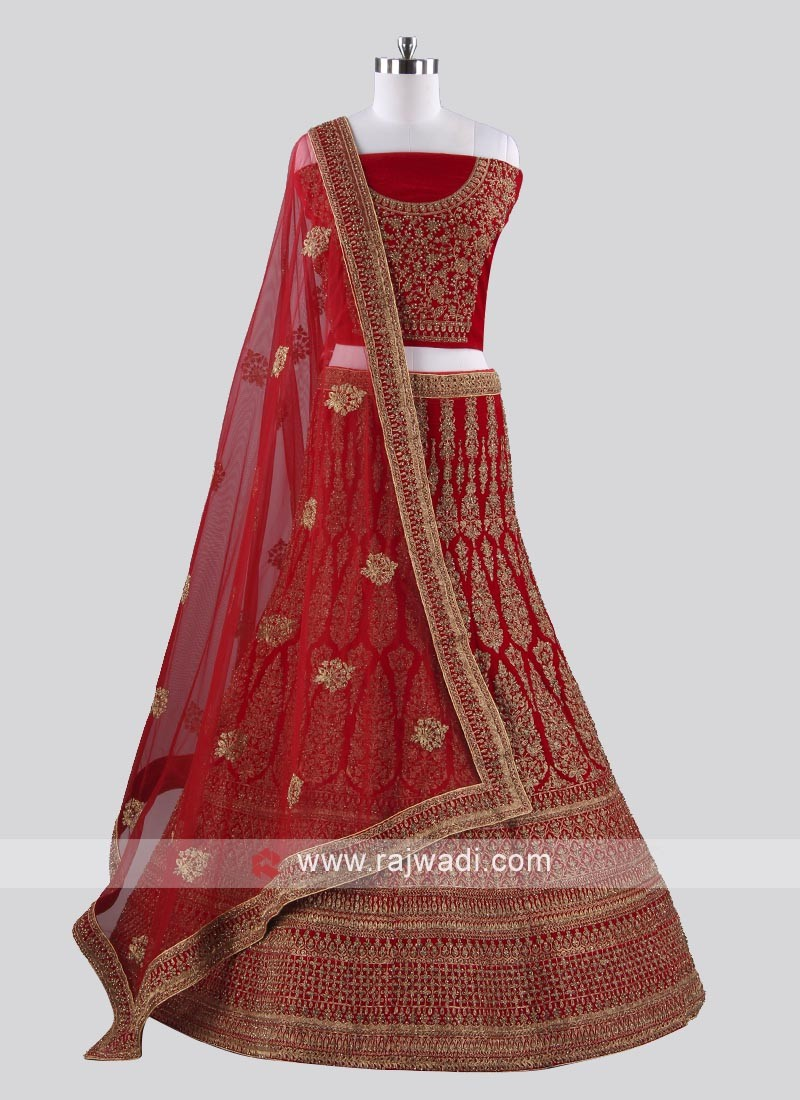Red Heavy Embroidered Lehenga Set