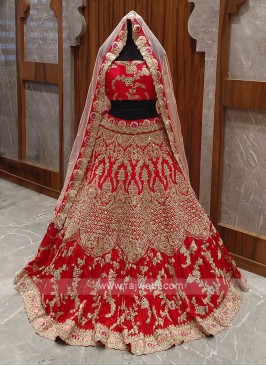 Red heavy work bridal lehenga