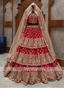 red layer bridal lehenga choli