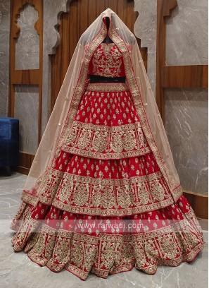 red layer bridal lehenga choli