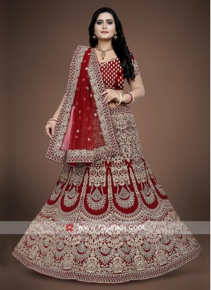 Red Bridal Lehenga choli in Velvet