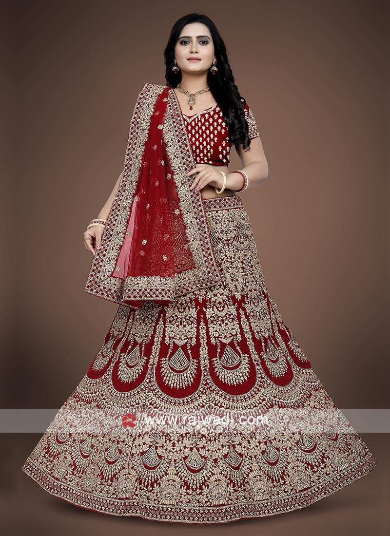 Red Bridal Lehenga choli in Velvet