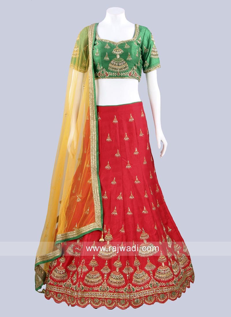 Red Lehenga with Green Choli and Net Dupatta
