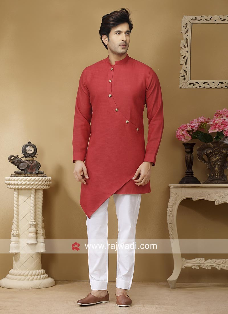 Red Linen Fabric Kurta Set