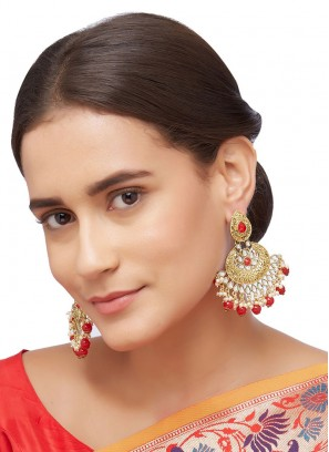 Red Moti Work Chanbali Earrings