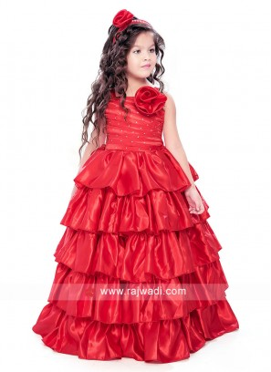 Red Multi Layer Gown for Girls