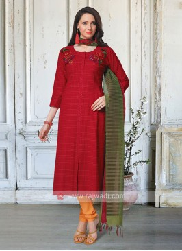Red & Mustard Yellow Salwar Kameez