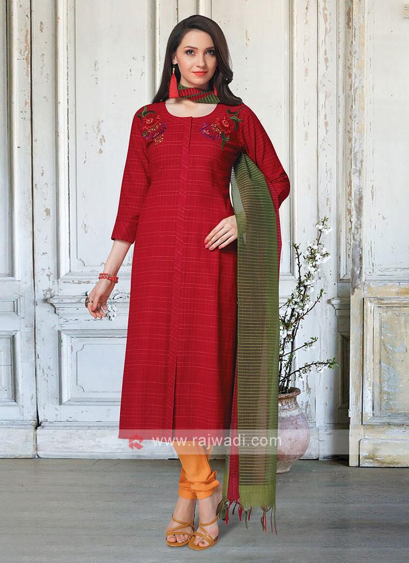 Red & Mustard Yellow Salwar Kameez