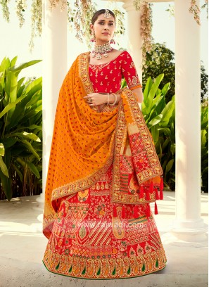 Red & Orange Silk Lehenga Choli