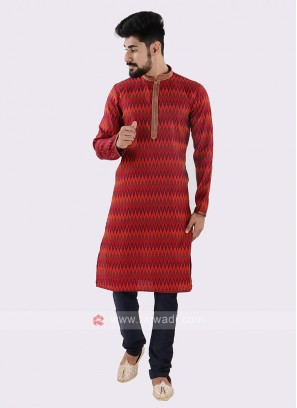 Red & Navy Kurta Pajama