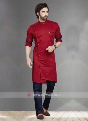 Red & Navy Kurta Pajama For Men