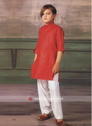 Red Party Wear Pathani Suit