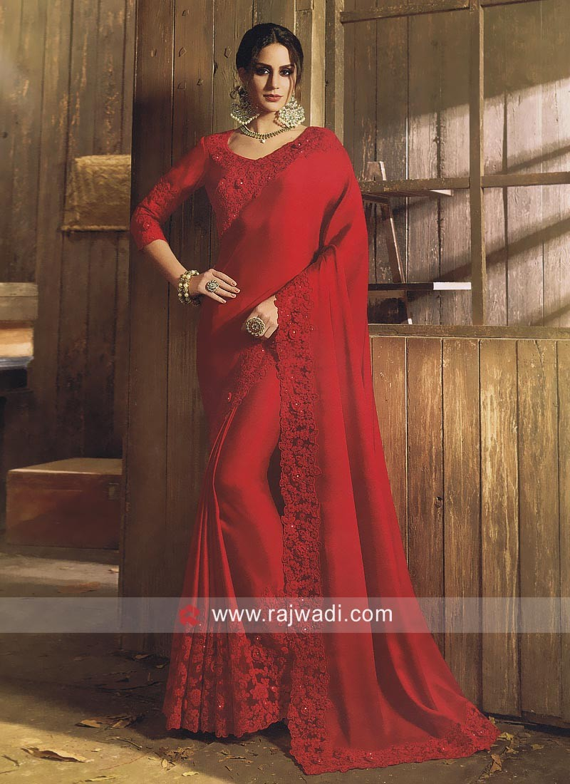2b54e98b58 Red Party Wear Saree with Blouse. Hover to zoom