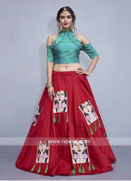 Red Patch Work Lehenga with Sea Green Choli