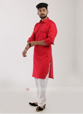 Red Pathani Suit