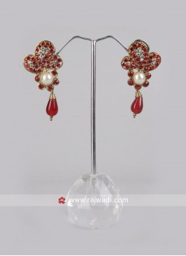 Red Pearl Drop Earrings