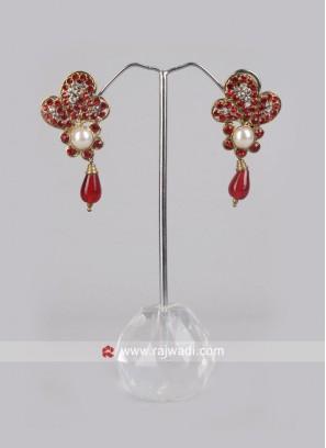 Red Pearl Drop Earrings