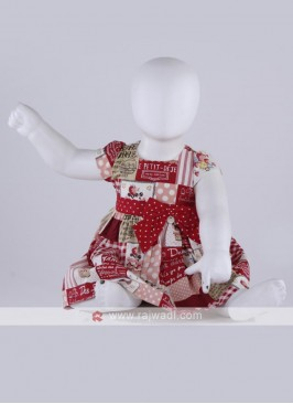 red printed cotton frock