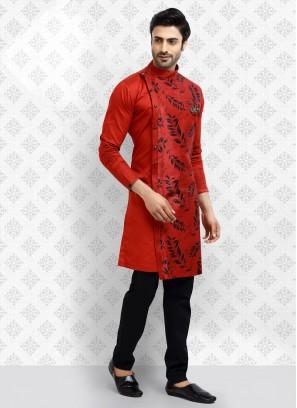 Red Printed Kurta Pajama