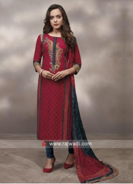 Red Printed Salwar Kameez