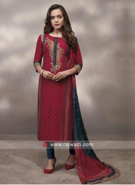 Red Printed Salwar Kameez