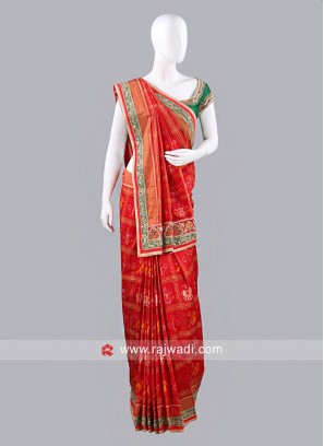 Red Pure Silk Patola Sari