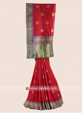 Red Pure Silk Woven Saree