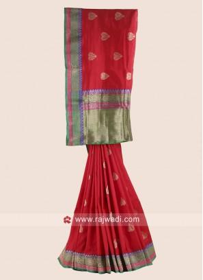 Red Pure Silk Woven Saree