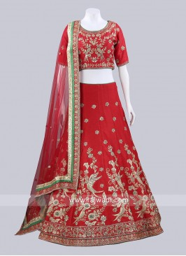 Red Raw Silk Bridal Lehenga