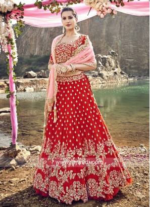 Red Raw Silk Bridal Choli Set
