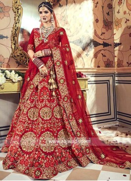 Red Raw Silk Embroidered Bridal Lehenga
