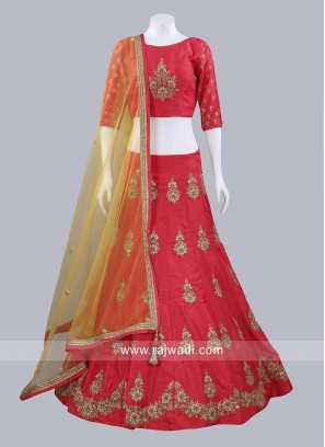 Red Raw Silk Lehenga Choli