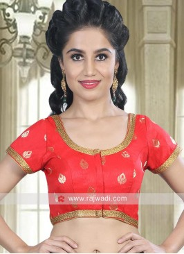 Red Ready Blouse with Lace Border