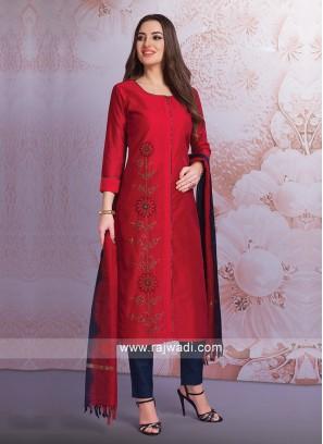 Crimson Resham Work Trouser Suit