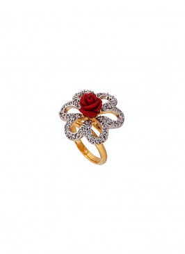 Red Rose American Diamond Stone Ring
