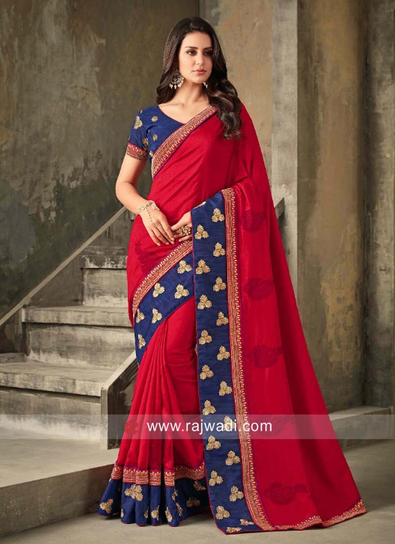 Red Saree with Blue Border