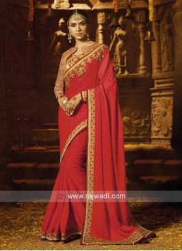 Red Saree with Peach Blouse
