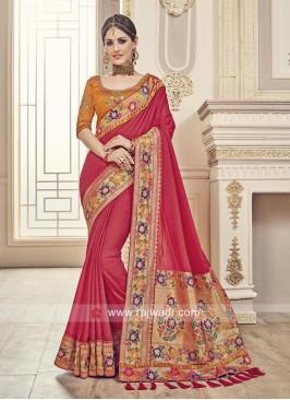 Red Sari with Dark Orange Blouse Piece