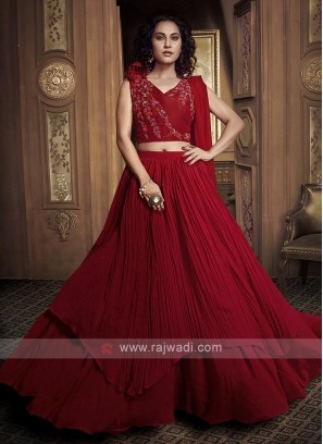 Red Satin Designer Lehenga Choli